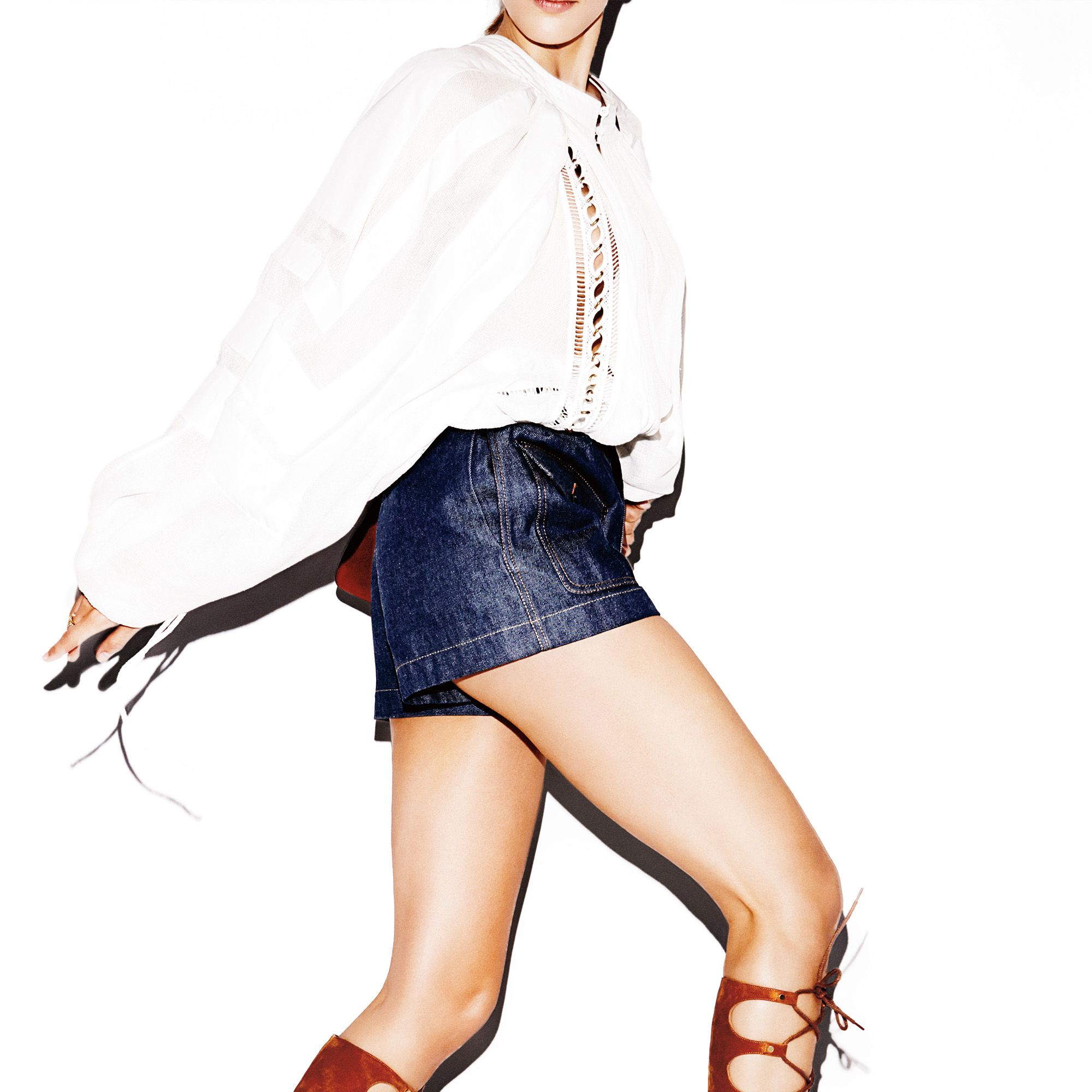 """<strong>1) The White Blouse</strong>The classic skews romantic, thanks to eyelet details and billowy sleeves.<strong>2) The Gladiator</strong>The Hercules sandal steps forward—this time in a bold hue.<strong>Chloé</strong> blouse, $3,250, and shorts, $395, <a href=""""http://www.saksfifthavenue.com/Chloe/Women-s-Apparel/shop/_/N-1z12vhrZ52flogZ6lvnb8/Ne-6lvnb6"""" target=""""_blank"""">saksfifthavenue.com</a>&#x3B; <strong>Chloé </strong>bag, $1,890, and sandals, $1,450, <a href=""""http://shop.harpersbazaar.com/designers/chloe/"""" target=""""_blank"""">shopBAZAAR.com</a>&#x3B; <strong>Tiffany &amp&#x3B; Co. &nbsp&#x3B;x&nbsp&#x3B;Schlumberger</strong> ring, $2,500, <a href=""""http://www.tiffany.com/shopping/CategoryBrowse.aspx?mcat=148206&amp&#x3B;cid=288190#p+1-n+10000-c+288190-s+5-r+-t+-ni+1-x+-pu+-f+-lr+-hr+-ri+-mi+-pp+"""" target=""""_blank"""">tiffany.com</a>.&nbsp&#x3B;"""