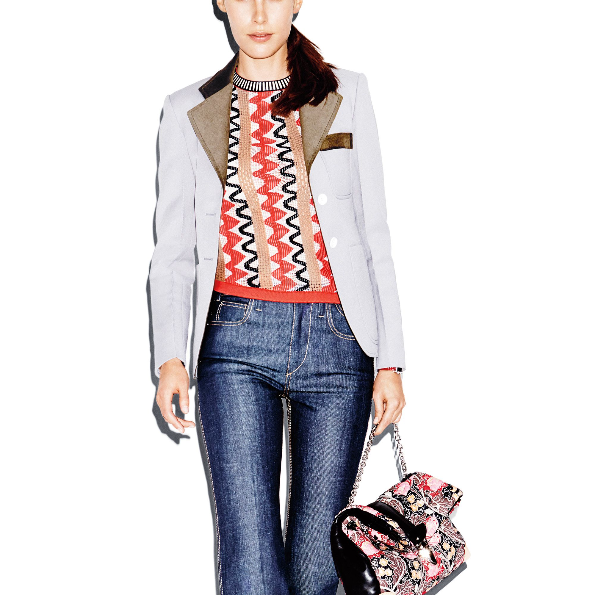 <strong>5) The Printed Knit</strong>Spring's sweater finds inspirationin '70s patterns.<strong>6) The Boy Blazer</strong>This shrunken jacket is freshened up with a contrast collar.<strong>7) The Trouser Jean&nbsp&#x3B;</strong>The new denim, sleek and straight-legged, is significantly more dressed up.<strong>Louis Vuitton</strong>&nbsp&#x3B;bag, $5,200,&nbsp&#x3B;jacket, sweater, jeans, watch&nbsp&#x3B;and boots, price upon request, 866-VUITTON.&nbsp&#x3B;&nbsp&#x3B;
