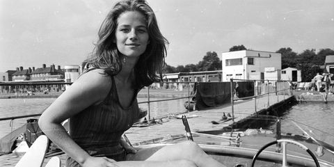 Waterway, Monochrome, Channel, Long hair, Monochrome photography, Black-and-white, Watercraft, Canal, Model, Boat,
