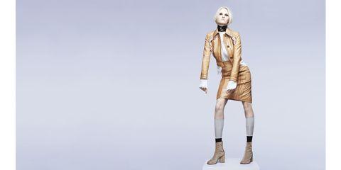 "<em>Lara Stone in&nbsp;Prada</em>  <strong>Prada</strong> jacket, $4,070,&nbsp;blouse, $740,&nbsp;skirt, $3,620&nbsp;and socks, $140, <a href=""http://www.prada.com/en/US/e-store/collection/woman.html"" target=""_blank"">prada.com</a>; <strong>Maison Martin Margiela </strong>boots, $945, <a href=""http://eboutique.maisonmargiela.com/us/maison-martin-margiela/tabi-boots_cod44612867gq.html?dept=ShsW"" target=""_blank"">maisonmartinmargiela.com</a>.&nbsp;  <em>  </em>  <em>  </em>  <em>  </em>"
