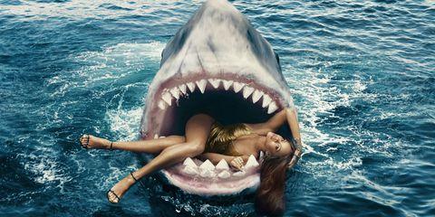 rihanna swimming with sharks in fashion shoot rihanna shark