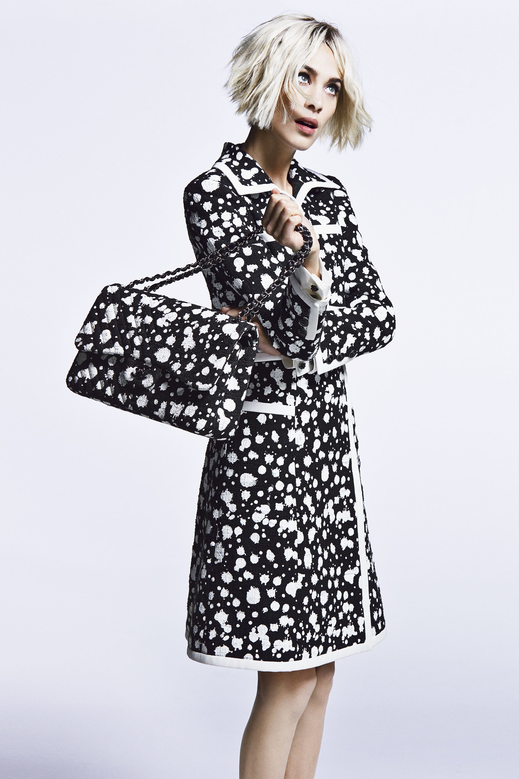 """<strong>Chanel</strong> jacket, $6,200,and skirt, $2,500,<a href=""""http://shop.nordstrom.com/"""">Nordstrom</a>, 800-695-8000; <strong>Chanel</strong> bag, $4,200,800-550-0005."""