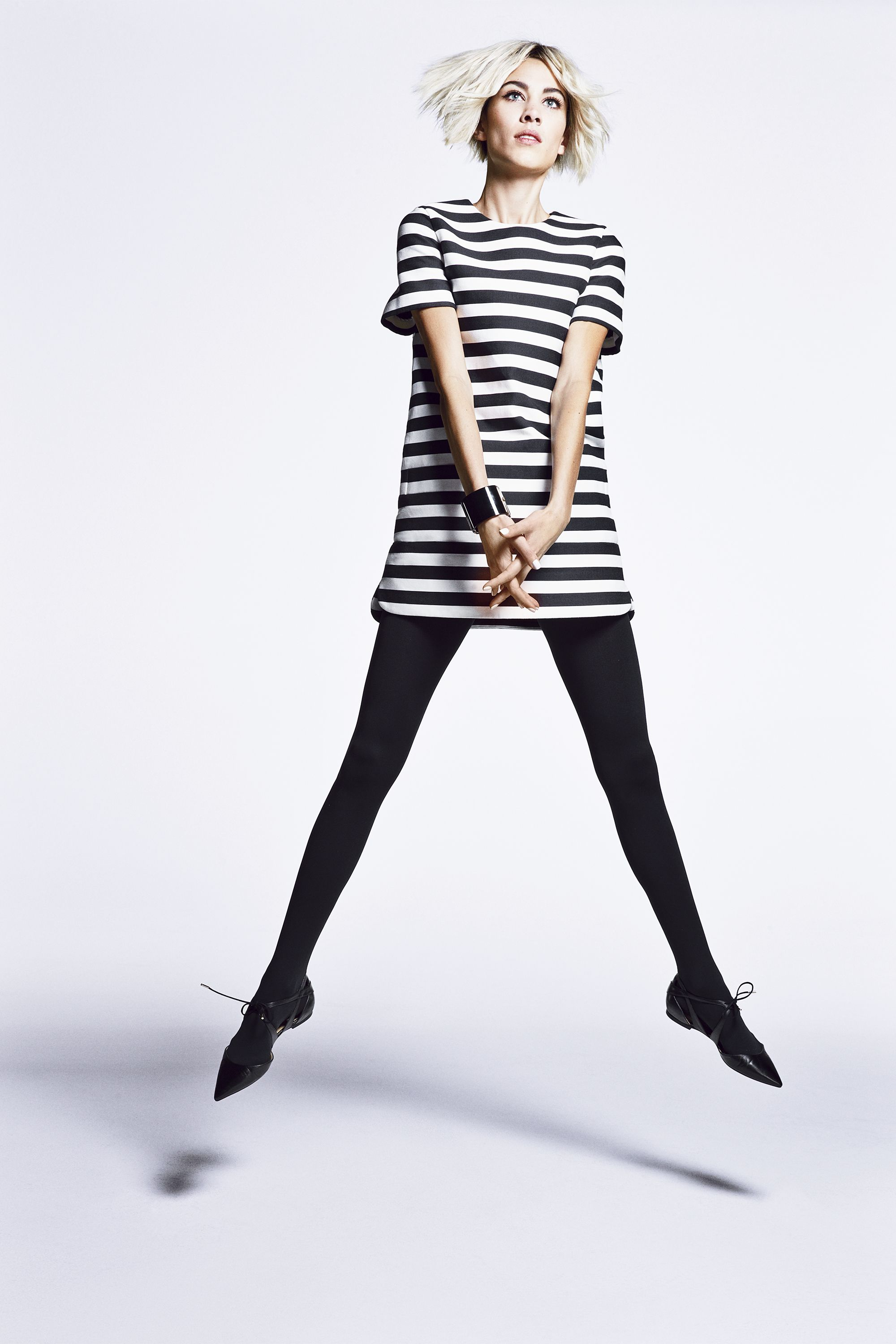 """<strong>Kate Spade New York</strong> dress, $398, <a href=""""http://shop.nordstrom.com/s/kate-spade-new-york-stripe-shift-dress/3926787"""" target=""""_blank"""">nordstrom.com</a>; <strong>Chanel</strong> bracelet, $1,850, Nordstrom, 800-695-8000;<strong>Wolford </strong>tights, $55, <a href=""""http://shop.nordstrom.com/s/wolford-matte-opaque-tights/3253809?origin=PredictiveSearchProducts"""" target=""""_blank"""">nordstrom.com</a>;<strong>Jimmy Choo</strong> shoes, $795,<a href=""""http://us.jimmychoo.com/en/women/shoes/flats/mardi/black-patent-and-white-textured-leather-brogues-143mardiptx.html?cgid=women-shoes-flats#dwvar_143mardiptx_color=Black/White&start=1&searchgridpos=1&srule=Merchandising Default"""">jimmychoo.com</a>."""