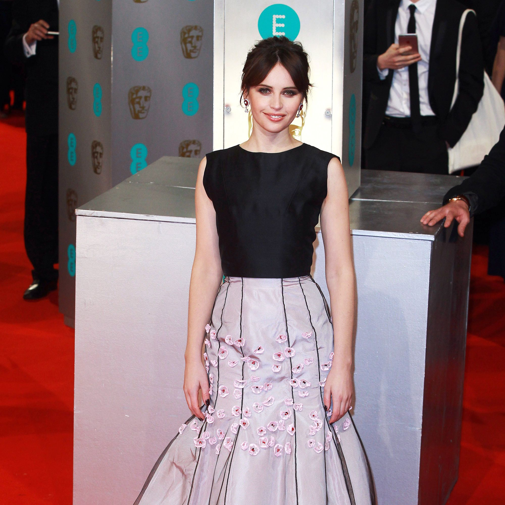 LONDON, UNITED KINGDOM - FEBRUARY 08: Felicity Jones attends the EE British Academy Film Awards at The Royal Opera House on February 8, 2015 in London, England. (Photo by Fred Duval/FilmMagic)