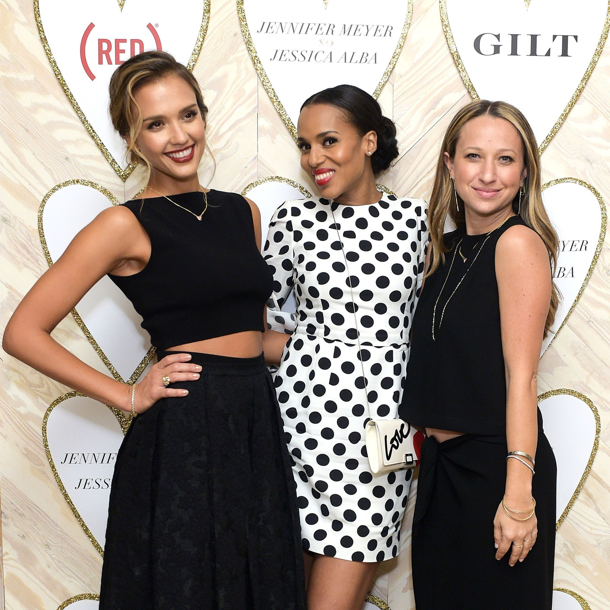 WEST HOLLYWOOD, CA - FEBRUARY 03: Jessica Alba, Kerry Washington and Jennifer Meyer attend Gilt And (RED) Celebrate The Launch Of Jennifer Meyer xo Jessica Alba  at Sunset Tower Hotel on February 3, 2015 in West Hollywood, California. (Photo by Stefanie Keenan/Getty Images for GILT)
