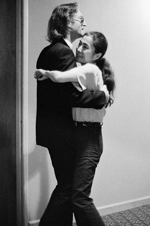 John Lennon and Yoko Ono dancing at The Hit Factory, NYC. August 1980. © Bob Gruen/www.bobgruen.com Please contact Bob Gruen's studio to purchase a print or license this photo. email: info@bobgruen.comImage #: R-240