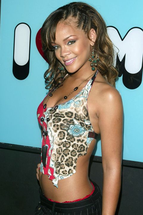 NEW YORK - SEPTEMBER 6:  (U.S. TABLOIDS OUT)  Singer Rihanna makes an appearance on MTV's Total Request Live on September 6, 2005 in New York City.  (Photo by Peter Kramer/Getty Images)