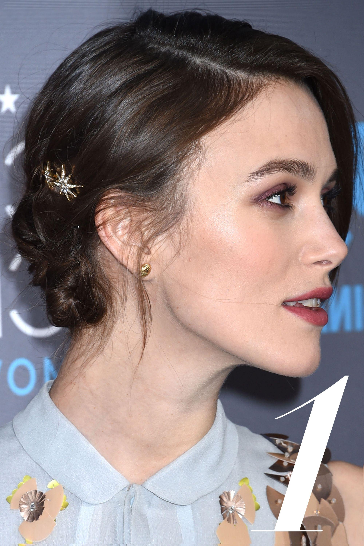 """Keira Knightley  <strong>Jennifer Behr</strong> Spider Swarovski Crystal Embellished Hair Slides, $155, <a href=""""http://www.net-a-porter.com/us/en/product/503541"""">net-a-porter.com</a>."""