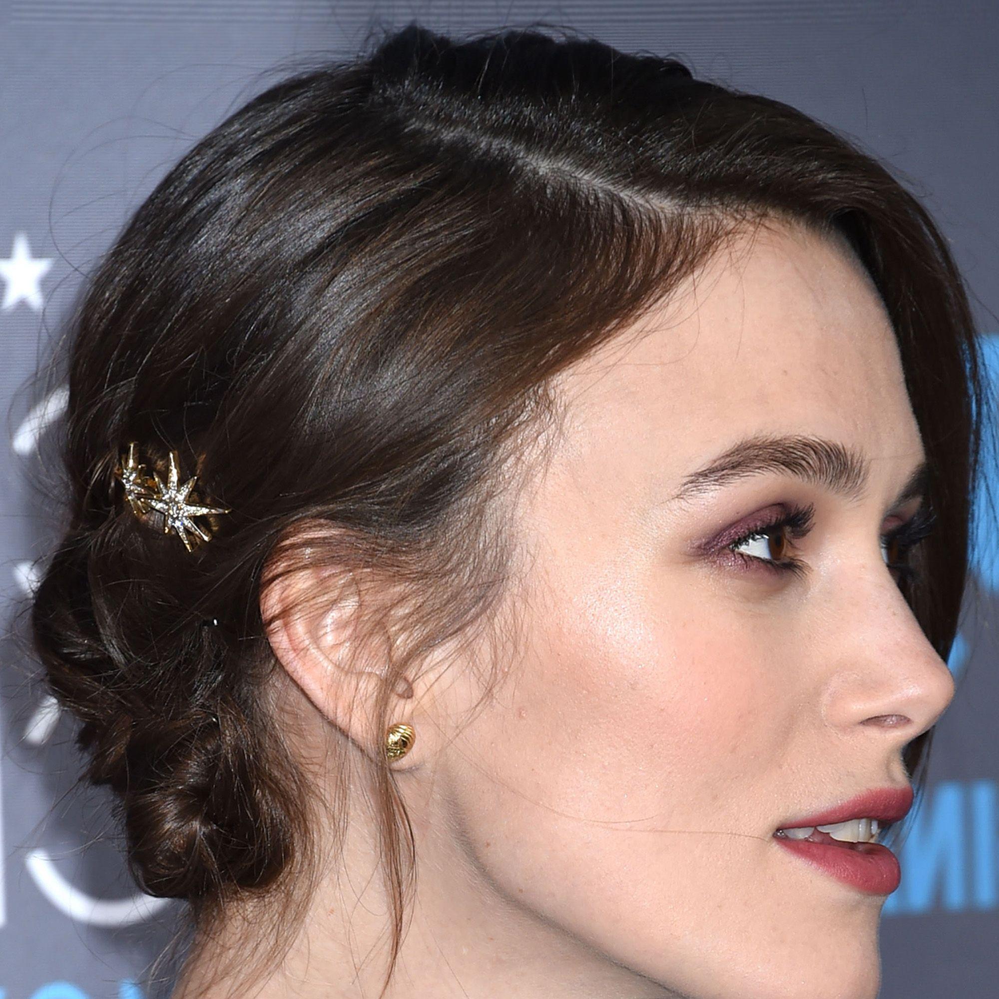 """Keira Knightley<strong>Jennifer Behr</strong> Spider Swarovski Crystal Embellished Hair Slides, $155, <a href=""""http://www.net-a-porter.com/us/en/product/503541"""">net-a-porter.com</a>."""