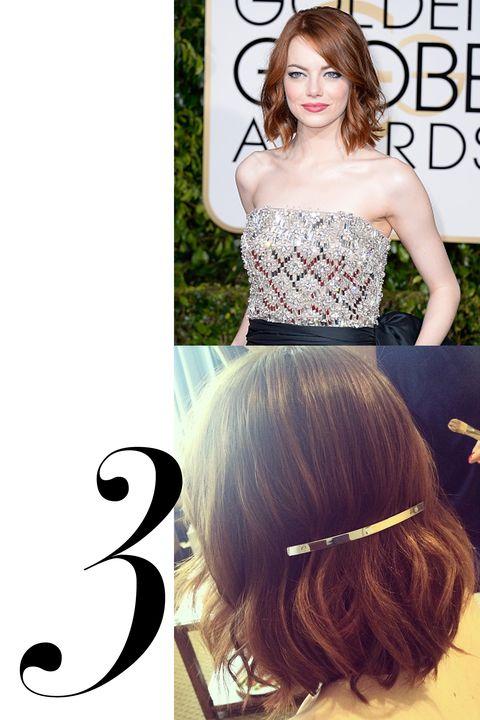 "Emma Stone  <strong>J.Crew</strong> Thin Metallic Barrette, $10, <a href=""https://www.jcrew.com/womens_category/accessories/hairaccessories/PRDOVR~B2280/B2280.jsp"">jcrew.com</a>."