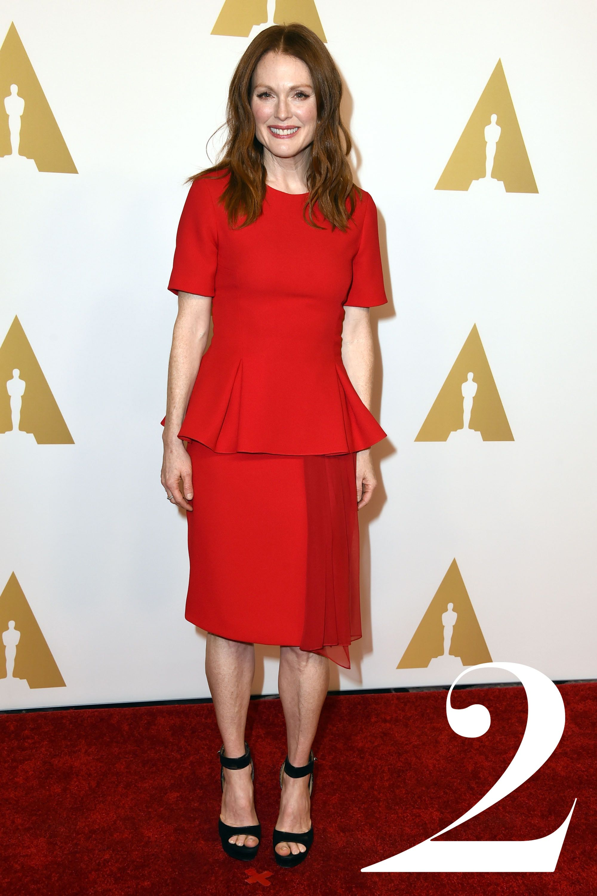 <strong>What: </strong>Prabal Gurung<strong>Where:</strong> The Academy's Annual Nominee Luncheon<strong>Why:</strong> The Best Actress nominee looks bold yet sophisticated in a monochrome set and platform heels.