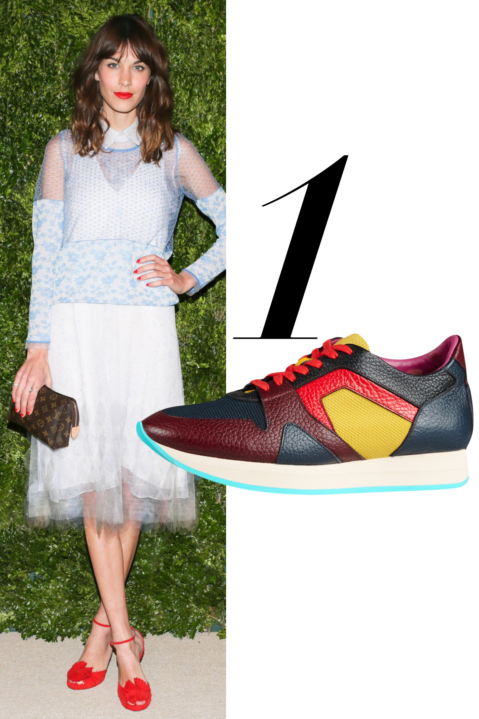 "<em>Burberry sneaker, $595, <a href=""http://us.burberry.com/the-field-sneaker-in-colour-block-leathermesh-p39732701"" target=""_blank"">burberry.com</a>.</em>"