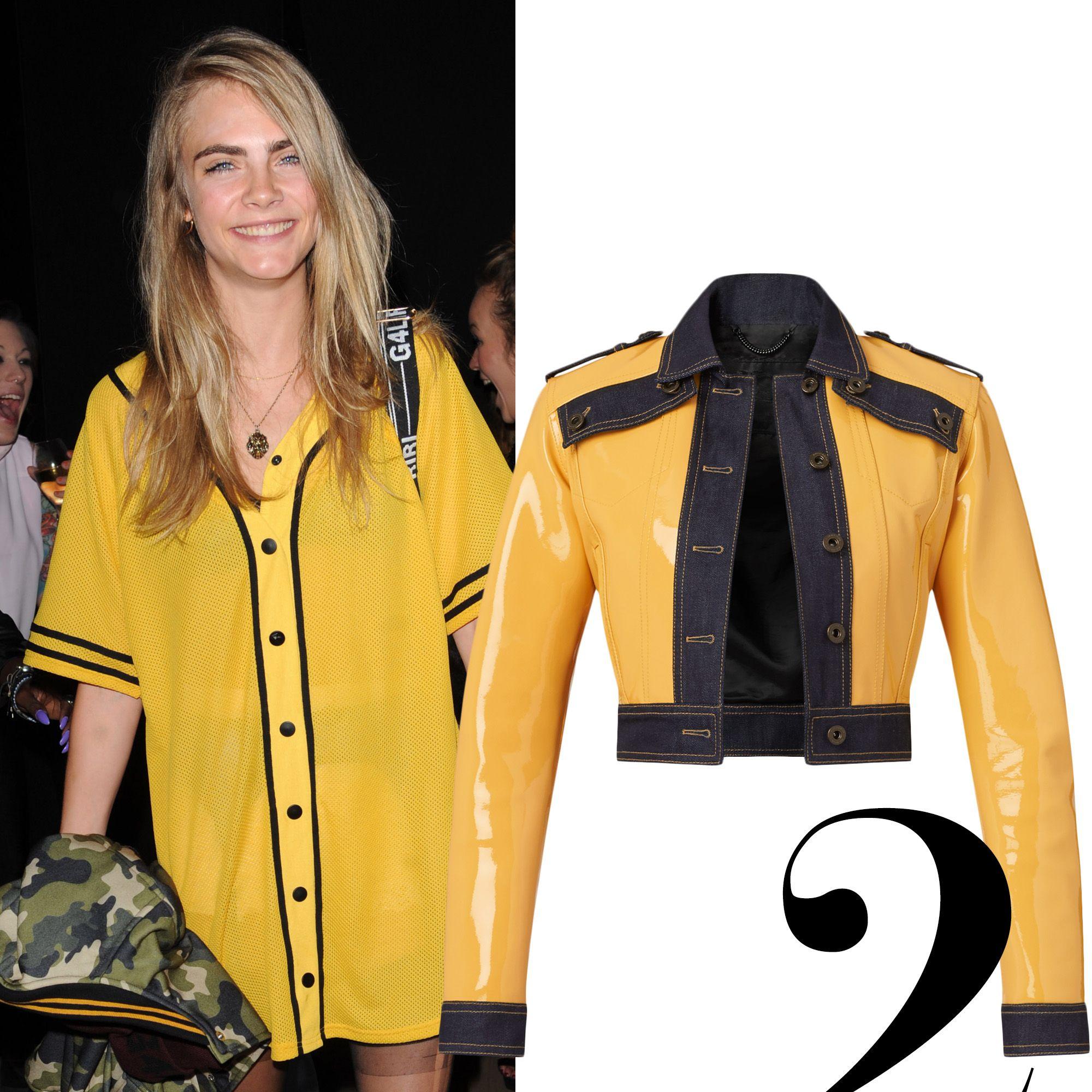 """<em>Burberry jacket, $3,995, <a href=""""http://us.burberry.com/patent-leatherdenim-jacket-p45311401"""" target=""""_blank"""">burberry.com</a>.</em>"""