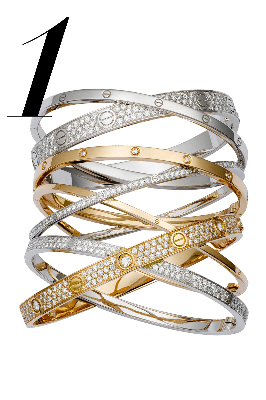 "This inimitable 18K pink and white gold bracelet set is a single heirloom of no less than 594 diamonds.  <em>Cartier LOVE Bracelet,</em><em>price upon request, 1-800-227-8437,</em><em><a href=""http://bs.serving-sys.com/BurstingPipe/adServer.bs?cn=tf&c=20&mc=click&pli=12419139&PluID=0&ord=%n"" target=""_blank"">cartier.us</a></em>"