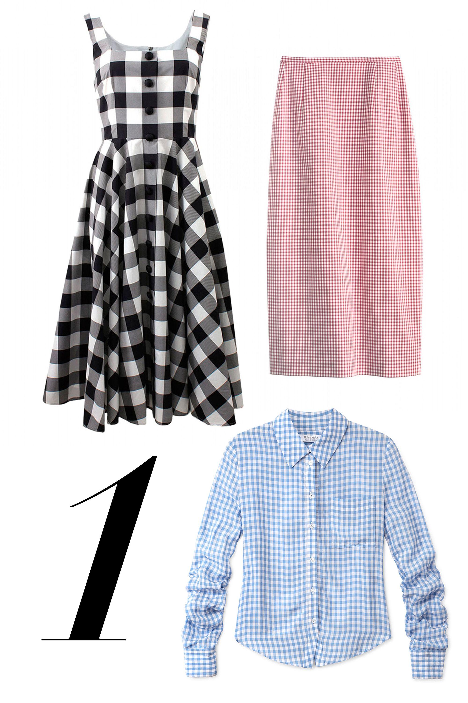 """<em>Dolce & Gabbana dress, $2,295, <a href=""""http://shop.harpersbazaar.com/designers/dolce-gabbana/cotton-gingham-dress/"""" target=""""_blank"""">shopBAZAAR.com</a>; Altuzarra shirt, $990, <a href=""""http://shop.harpersbazaar.com/designers/altuzarra/volpone-gingham-shirt/"""" target=""""_blank"""">shopBAZAAR.com</a>; Michael Kors skirt, $575, <a href=""""http://shop.harpersbazaar.com/designers/michael-kors/gingham-pencil-skirt"""" target=""""_blank"""">shopBAZAAR.com</a>.</em>"""