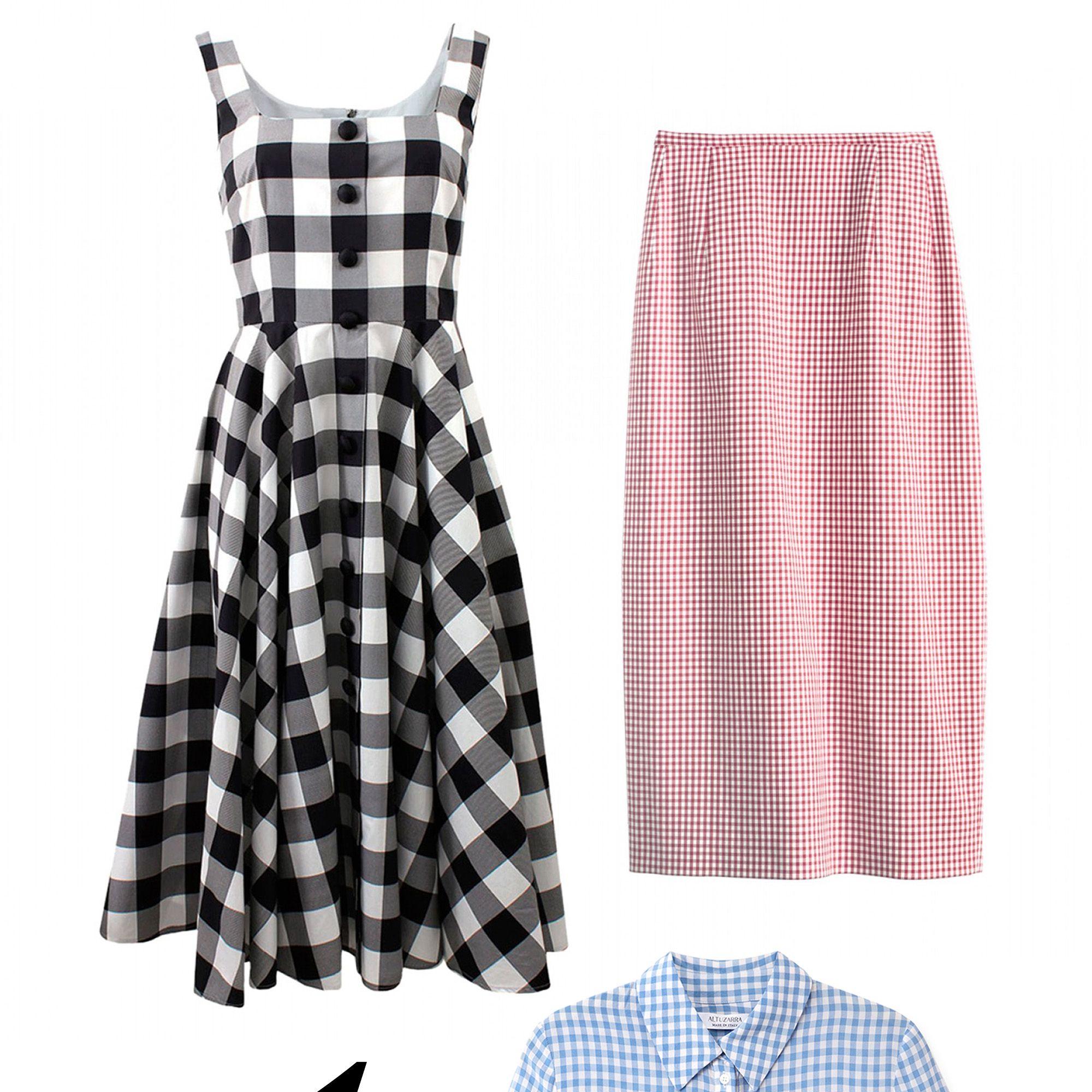 """<em>Dolce &amp&#x3B; Gabbana dress, $2,295, <a href=""""http://shop.harpersbazaar.com/designers/dolce-gabbana/cotton-gingham-dress/"""" target=""""_blank"""">shopBAZAAR.com</a>&#x3B; Altuzarra shirt, $990, <a href=""""http://shop.harpersbazaar.com/designers/altuzarra/volpone-gingham-shirt/"""" target=""""_blank"""">shopBAZAAR.com</a>&#x3B; Michael Kors skirt, $575, <a href=""""http://shop.harpersbazaar.com/designers/michael-kors/gingham-pencil-skirt"""" target=""""_blank"""">shopBAZAAR.com</a>.</em>"""