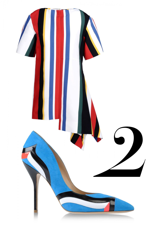 "<em>Marni dress, $1,538, <a href=""http://shop.harpersbazaar.com/designers/marni/stripe-staggered-hem-dress/"" target=""_blank"">shopBAZAAR.com</a>; Paul Andrew pump, $895, <a href=""http://shop.harpersbazaar.com/designers/paul-andrew/suede-patent-striped-pump/"" target=""_blank"">shopBAZAAR.com</a>.</em>"