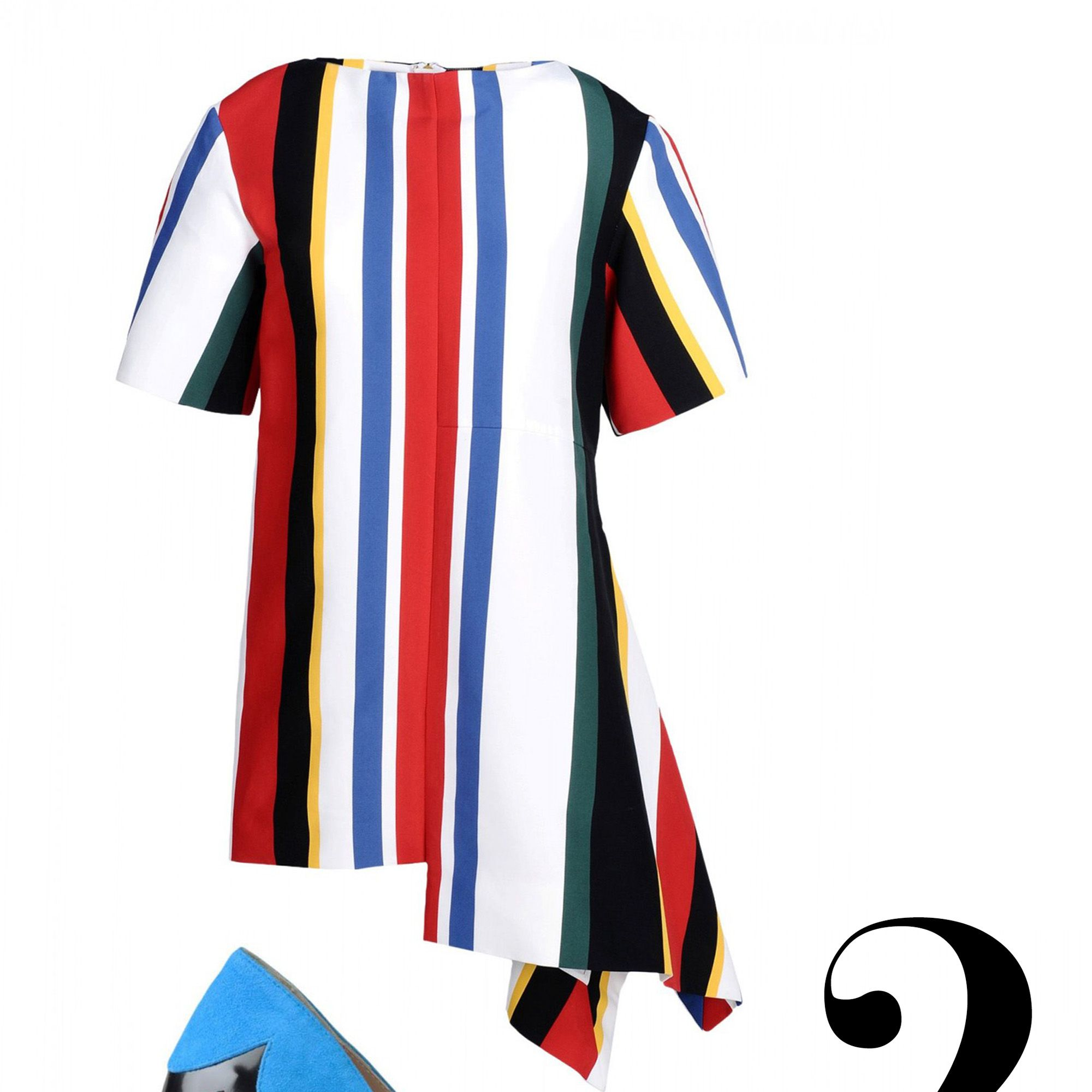 "<em>Marni dress, $1,538, <a href=""http://shop.harpersbazaar.com/designers/marni/stripe-staggered-hem-dress/"" target=""_blank"">shopBAZAAR.com</a>&#x3B; Paul Andrew pump, $895, <a href=""http://shop.harpersbazaar.com/designers/paul-andrew/suede-patent-striped-pump/"" target=""_blank"">shopBAZAAR.com</a>.</em>"