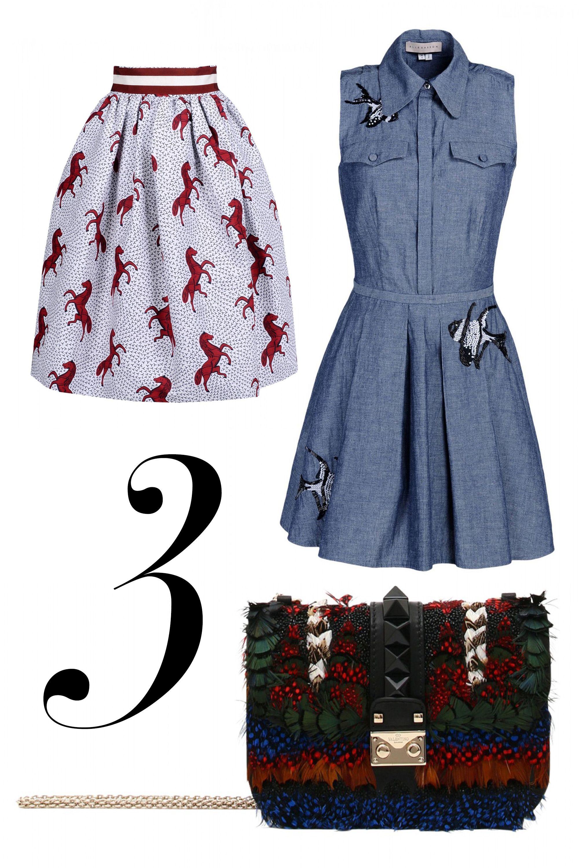 "<em>Stella Jean skirt, $770, <a href=""http://shop.harpersbazaar.com/designers/stella-jean/pipistrello-printed-skirt/"" target=""_blank"">shopBAZAAR.com</a>; Elle Sasson dress, $590, <a href=""http://shop.harpersbazaar.com/designers/elle-sasson/gulper-dress-5/"" target=""_blank"">shopBAZAAR.com</a>; Valentino bag, $4,445, <a href=""http://shop.harpersbazaar.com/designers/valentino/feather-mini-lock-shoulder-bag/"" target=""_blank"">shopBAZAAR.com</a>.</em>"