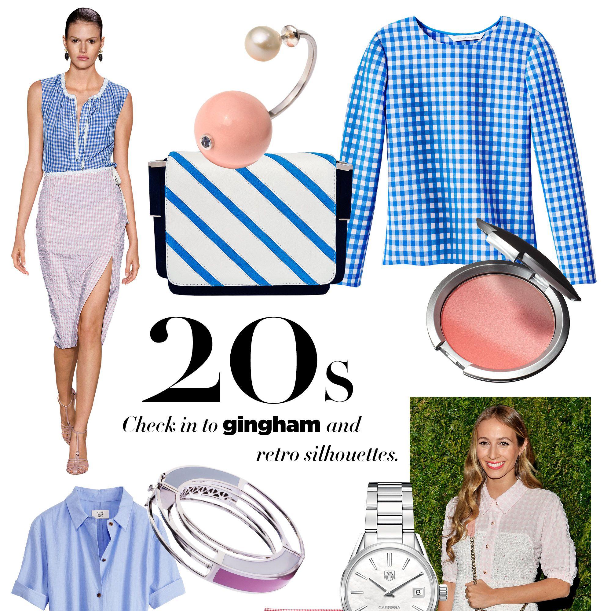 "<strong>Delfina Delettrez</strong> earring, $880, <a href=""https://www.openingceremony.us/products.asp?menuid=2&amp&#x3B;designerid=221&amp&#x3B;view=all"" target=""_blank"">openingceremony.us</a>&#x3B; <strong>Diane von Furstenberg</strong> top, $298,&nbsp&#x3B;<a href=""http://www.dvf.com/designer-clothing/tops/"" target=""_blank"">dvf.com</a>&#x3B; <strong>Emanuel Ungaro</strong> bag, $1,495, Laura Gambucci, La Jolla, CA&#x3B; 858-551-0214&#x3B; <strong>IT Cosmetics&nbsp&#x3B;</strong>CC+ Radiance Ombre Blush, $24, <a href=""http://www.itcosmetics.com/cc-r-radiance-ombre-blush?utm_source=google_shopping&amp&#x3B;gclid=Cj0KEQiA6ounBRCq0LKBjKGgysEBEiQAZmpvAwSZhGssBPfRmNTM7SChJQsx0WjddS5lz_7aEKt1NGcaAhMQ8P8HAQ"" target=""_blank"">itcosmetics.com</a>&#x3B; <strong>Maryam Nassir Zadeh</strong> dress, $598, Black Parrot, Portland, ME&#x3B; 207-221-6991&#x3B; <strong>Michael Kors</strong> skirt, $575, <a href=""http://shop.harpersbazaar.com/designers/michael-kors/gingham-pencil-skirt/"" target=""_blank"">shopBAZAAR.com</a><img src=""http://assets.hdmtools.com/images/HBZ/Shop.svg"" class=""icon shop"">&#x3B; <strong>Eddie Borgo</strong> bracelet, $350, <a href=""http://shop.harpersbazaar.com/designers/eddie-borgo/circle-frame-bracelet/"" target=""_blank"">shopBAZAAR.com</a><img src=""http://assets.hdmtools.com/images/HBZ/Shop.svg"" class=""icon shop"">&#x3B; <strong>TAG Heuer</strong> watch, $2,900, 212-230-1281&#x3B; <strong>Altuzarra</strong> sandal, $990, <a href=""http://www.fwrd.com/f/Category.jsp?search=Altuzarra"" target=""_blank"">forwardbyelysewalker.com</a>.<strong>STYLIST'S TIP&nbsp&#x3B;</strong>A futuristic bracelet makes it modern."