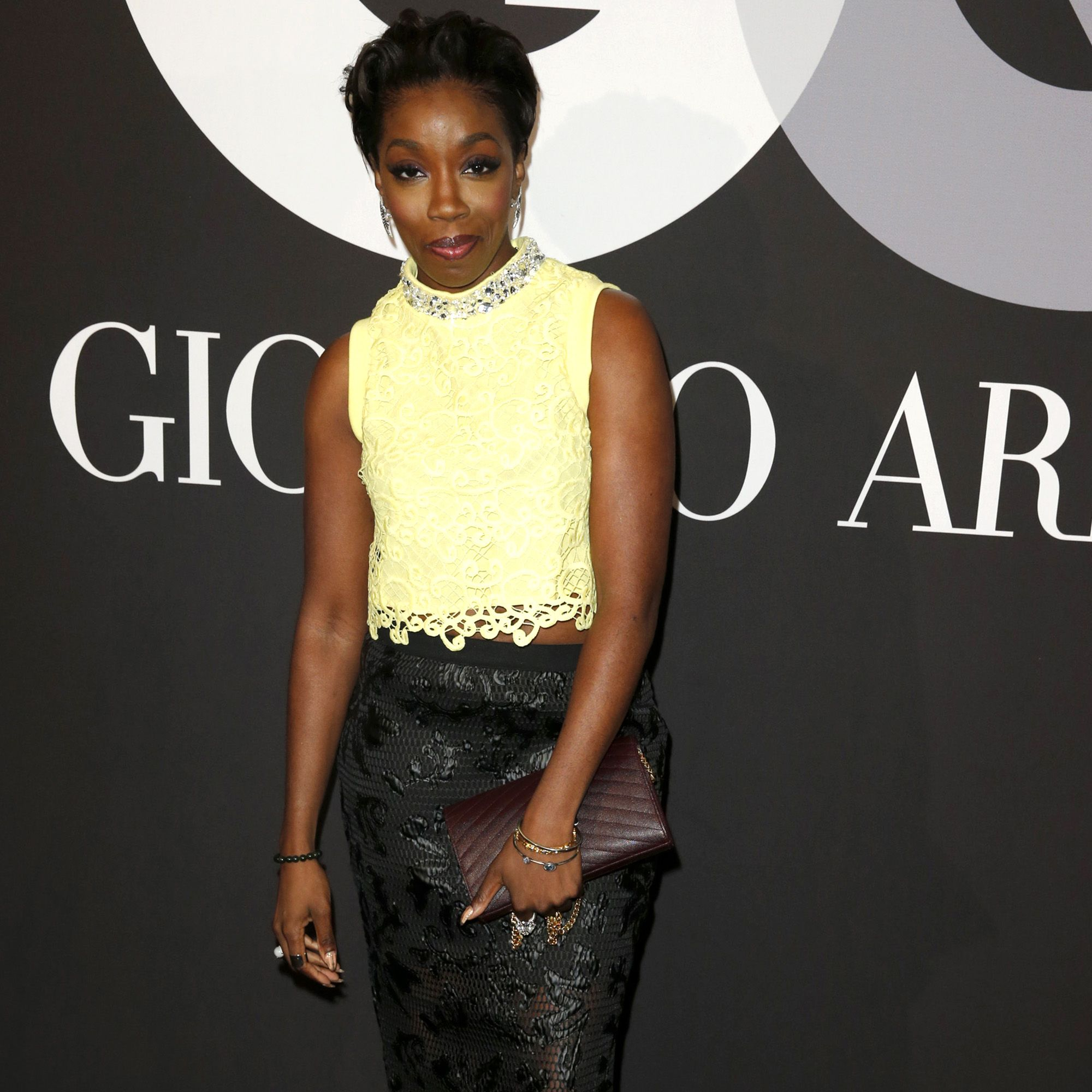 HOLLYWOOD, CA - FEBRUARY 08:  Singer Estelle attends GQ And Giorgio Armani Grammys After Party at Hollywood Athletic Club on February 8, 2015 in Hollywood, California.  (Photo by Joe Scarnici/Getty Images for GQ)