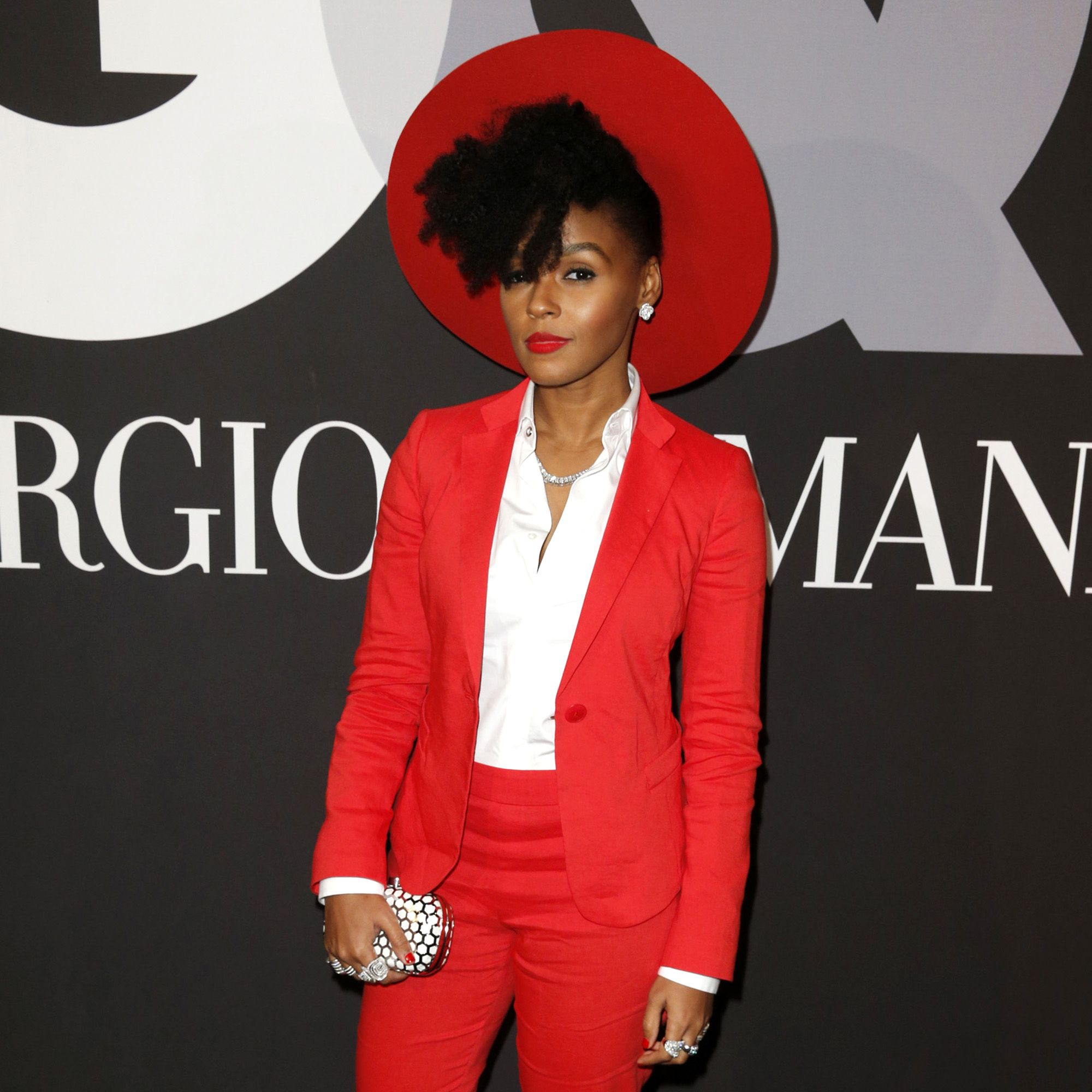 HOLLYWOOD, CA - FEBRUARY 08:  Recording artist Janelle Monae attends GQ and Giorgio Armani Grammys After Party at Hollywood Athletic Club on February 8, 2015 in Hollywood, California.  (Photo by Joe Scarnici/Getty Images for GQ)