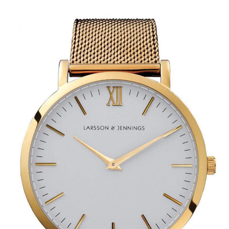 "<strong>Larsson &amp&#x3B; Jennings</strong> watch, $350, <a href=""http://shop.harpersbazaar.com/designers/larsson-jennings/gold-chain-metal-watch/"">shopBAZAAR.com</a>."
