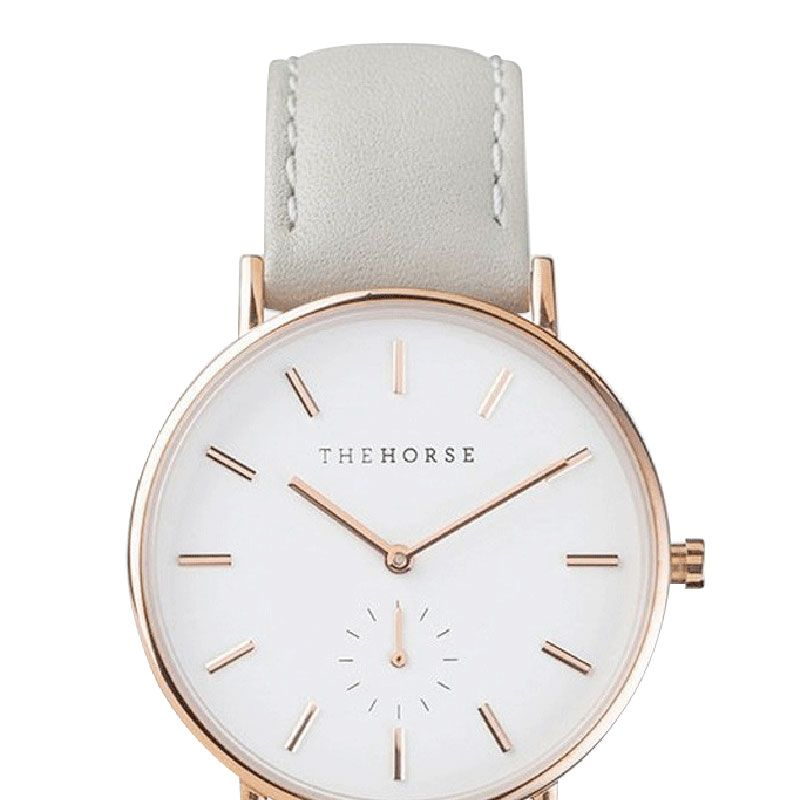 "<strong>The Horse</strong> watch, $189, <a href=""http://www.thehorse.com.au/collections/watches/products/rose-gold-grey-leather-band "">thehorse.com.au</a>."
