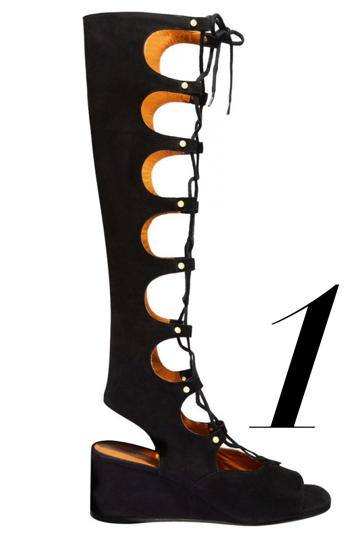 """<em>Chloé sandal, $1,450, <a href=""""http://shop.harpersbazaar.com/designers/chloe/suede-lace-up-gladiator-sandal-1/"""" target=""""_blank"""">shopBAZAAR.com</a>.</em>"""