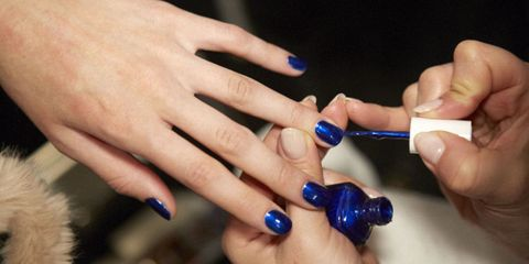 Blue, Finger, Nail, Hand, Electric blue, Thumb, Majorelle blue, Cobalt blue, Nail care, Azure,