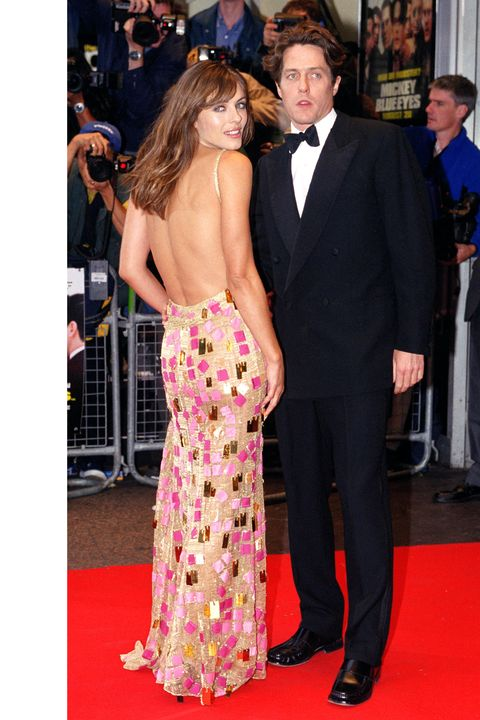 Hugh Grant & Elizabeth Hurley Attend The World Charity Premiere Of 'Mickey Blue Eyes' In London. (Photo by Justin Goff\UK Press via Getty Images)