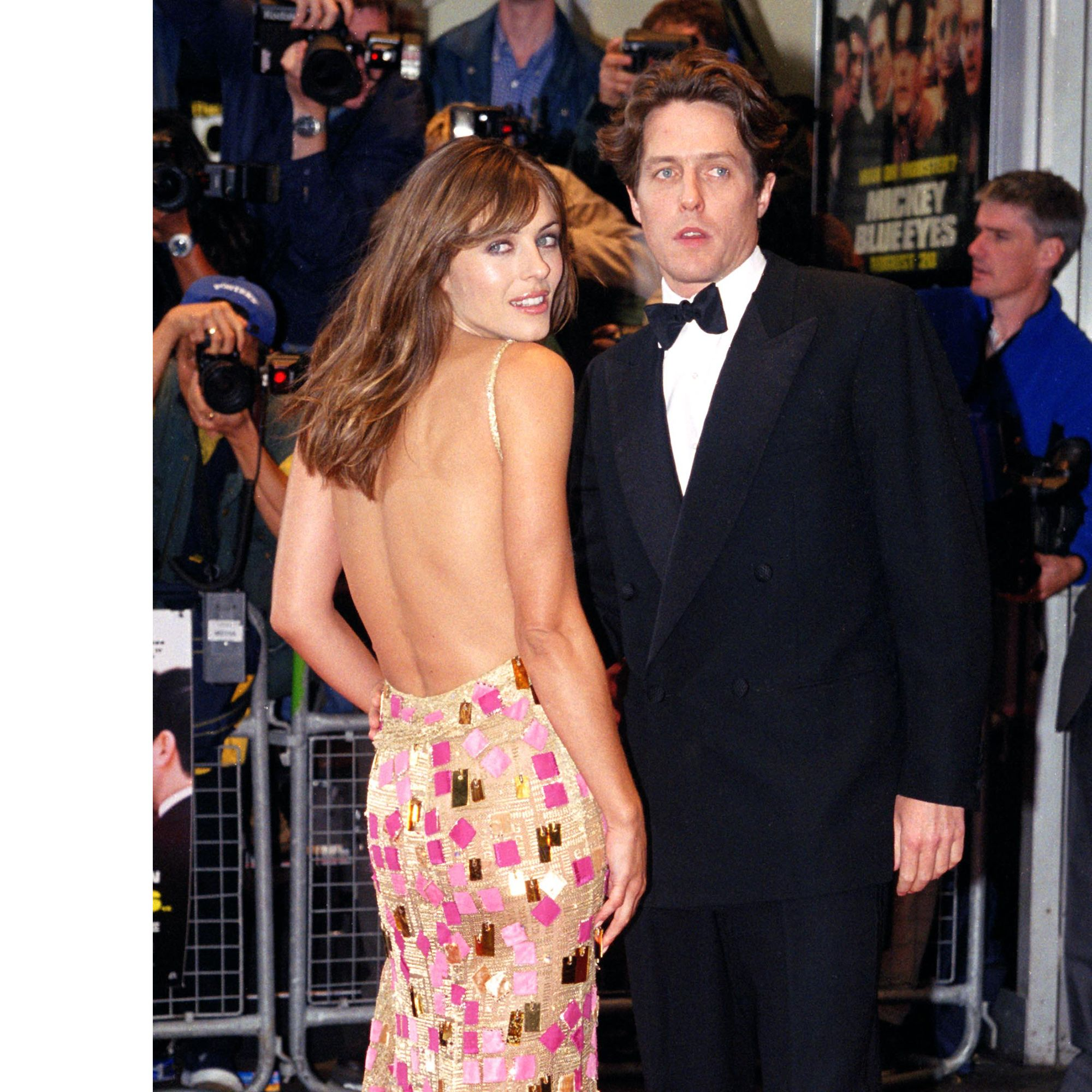 Hugh Grant &amp&#x3B; Elizabeth Hurley Attend The World Charity Premiere Of 'Mickey Blue Eyes' In London. (Photo by Justin Goff\UK Press via Getty Images)