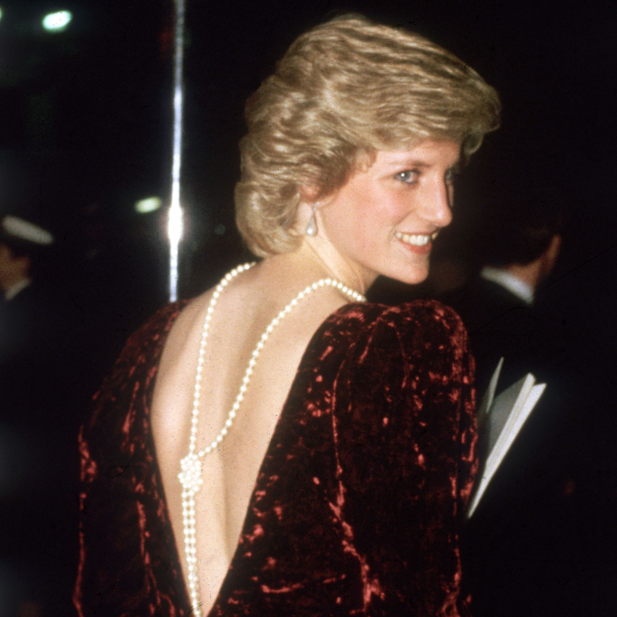 Diana (1961 - 1997), the Princess of Wales, attends the film premiere of 'Back To The Future'.    (Photo by Keystone/Getty Images)