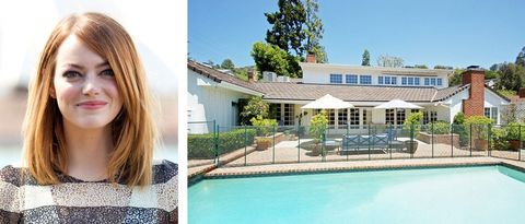 """Emma Stone, nominated for Best Actress in a Supporting Role for her performance in """"Birdman,"""" bought&nbsp;this four-bedroom, three-and-a-half bathroom mansion in Beverly Hills with boyfriend Andrew Garfield, according to <a href=""""http://variety.com/2012/dirt/real-estalker/emma-and-andrew-shack-up-in-beverly-hills-799/"""">Variety</a>."""