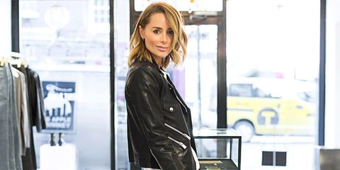 Sleeve, Jacket, Collar, Street fashion, Leather, Blond, Leather jacket, Brown hair, Long hair, Model,