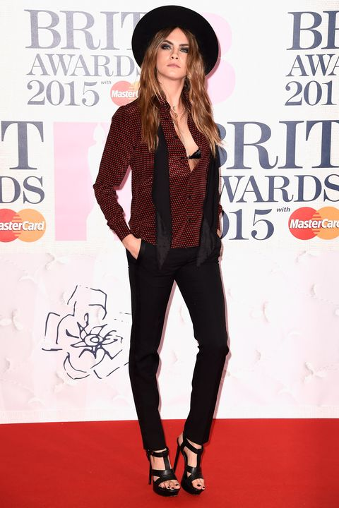 LONDON, ENGLAND - FEBRUARY 25:  Cara Delevingne attends the BRIT Awards 2015 at The O2 Arena on February 25, 2015 in London, England.  (Photo by Ian Gavan/Getty Images)