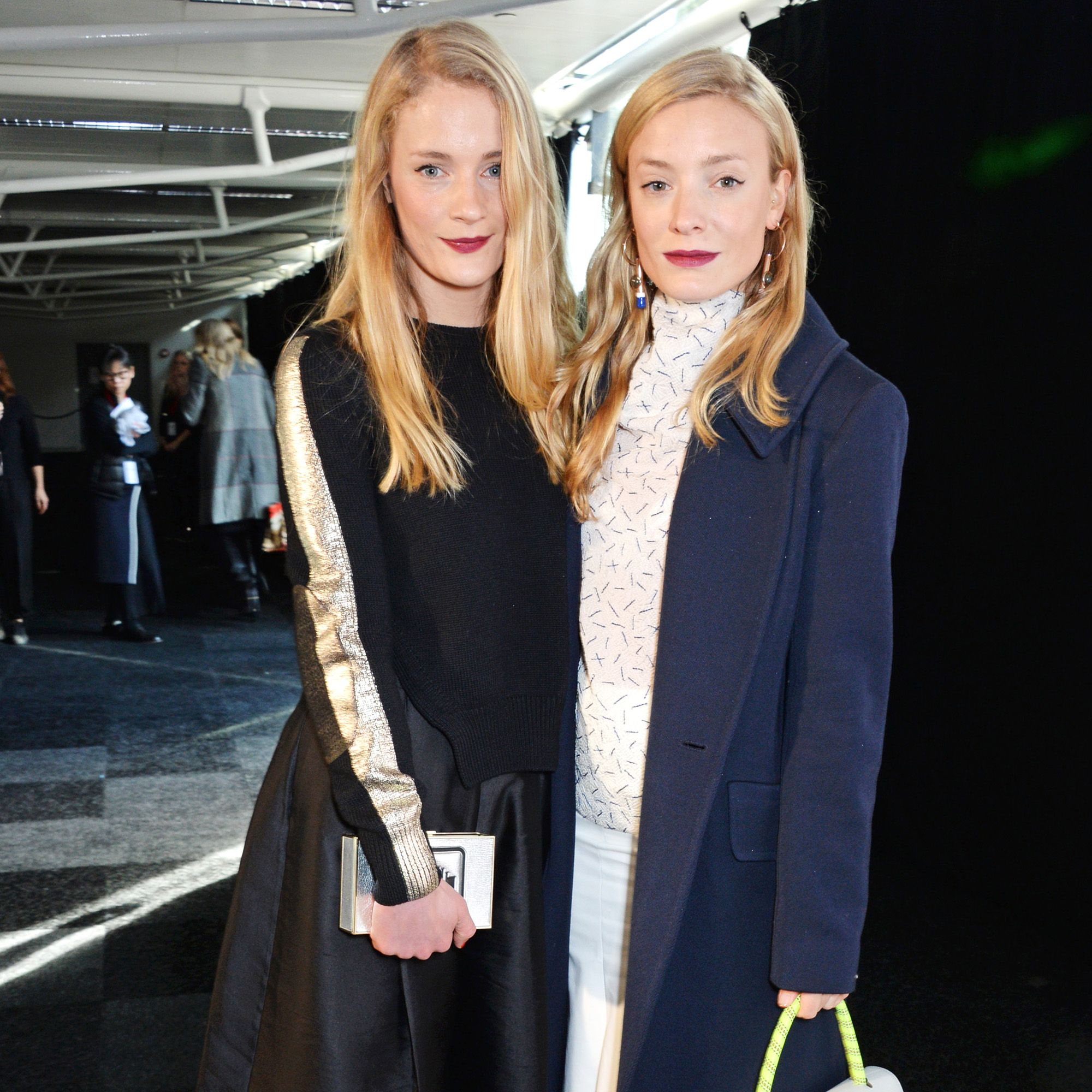 LONDON, ENGLAND - FEBRUARY 24:  Lucy Foley (L) and Kate Foley attend the Anya Hindmarch AW15 Presentation during London Fashion Week at Old Billingsgate Market on February 24, 2015 in London, England.  (Photo by David M. Benett/Getty Images for Anya Hindmarch)