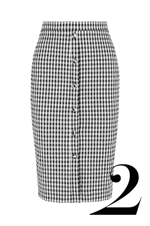 """<em>Altuzarra skirt, $750, <a href=""""http://www.net-a-porter.com/product/537166/Altuzarra/balthazar-gingham-seersucker-stretch-cotton-pencil-skirt-"""">net-a-porter.com.</a></em>"""