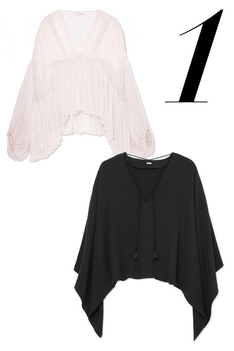 "<em>Chloé top, $1,995,&nbsp;<a href=""http://shop.harpersbazaar.com/designers/chloe/silk-draped-top/"" target=""_blank"">shopBAZAAR.com</a>; Adam Lippes top, $730,&nbsp;<a href=""http://shop.harpersbazaar.com/designers/adam-lippes/draped-crepe-top/"" target=""_blank"">shopBAZAAR.com</a>.</em>"