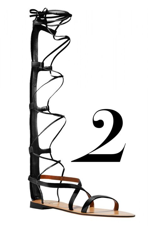 "<em>Valentino sandal, $1,365,&nbsp;<a href=""http://shop.harpersbazaar.com/designers/valentino/black-knee-high-gladiator-sandal/"" target=""_blank"">shopBAZAAR.com</a>.</em>"