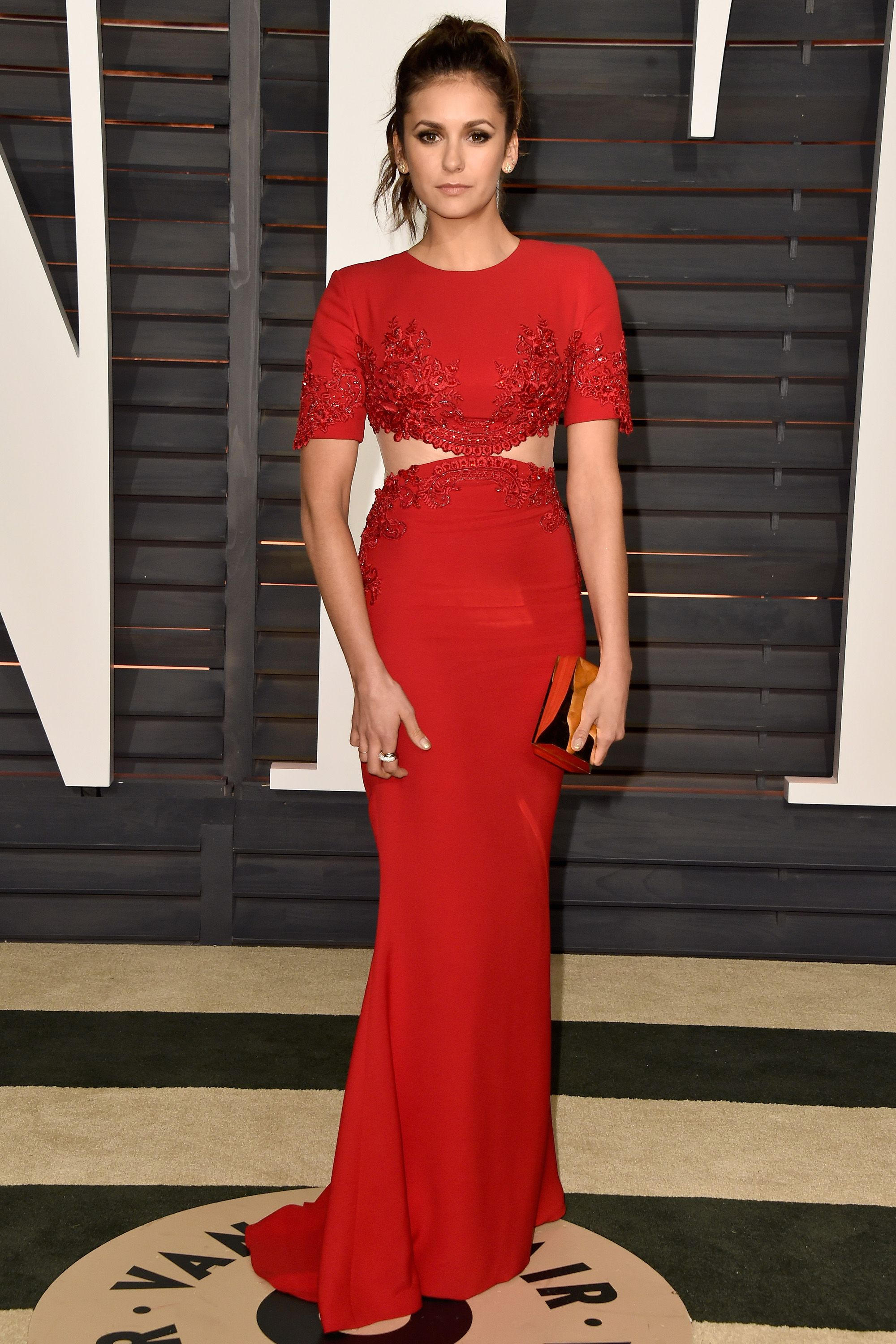 BEVERLY HILLS, CA - FEBRUARY 22:  Actress Nina Dobrev attends the 2015 Vanity Fair Oscar Party hosted by Graydon Carter at Wallis Annenberg Center for the Performing Arts on February 22, 2015 in Beverly Hills, California.  (Photo by Pascal Le Segretain/Getty Images)