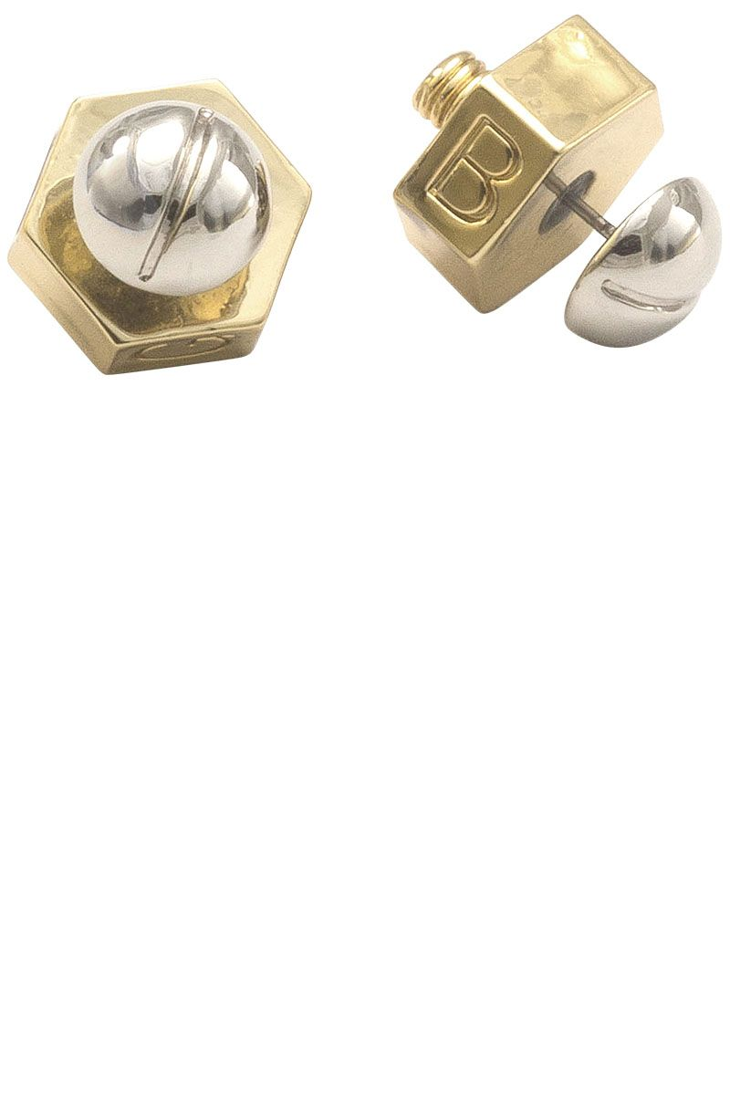 "<strong>Giles & Brother</strong> earrings, $95, <a href=""http://shop.harpersbazaar.com/designers/giles-brother/nut-bolt-stud-earrings/"" target=""_blank"">shopBAZAAR.com</a>."