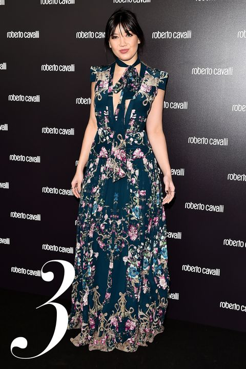 <strong>What:&nbsp;</strong>Roberto Cavalli&nbsp;  <strong>Where: &nbsp;</strong>Roberto Cavalli Fall 2015 Show  <strong>Why: </strong>Lowe is a bohemian beauty in this low-cut floral maxi dress&nbsp;and matching necktie.