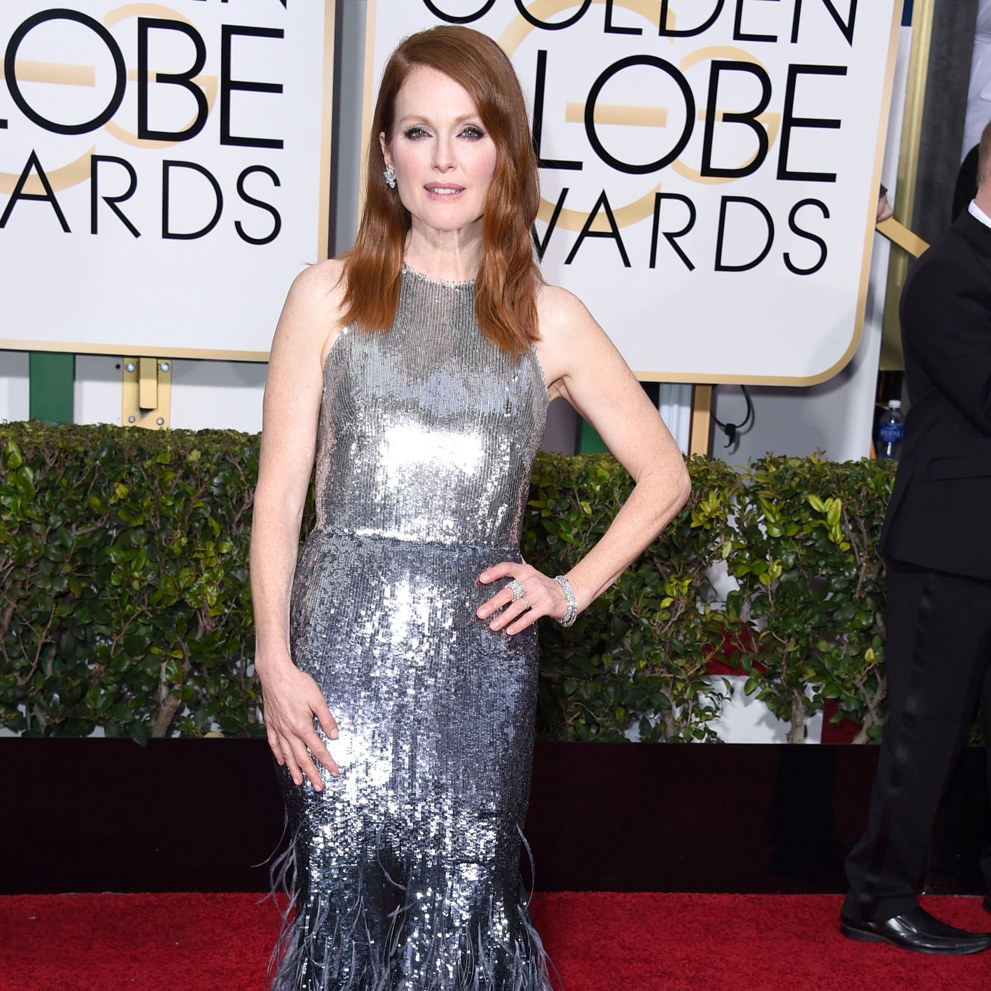 Julianne Moore was a shimmering goddess in a custom Givenchy by Ricardo Tisci gown at the Golden Globes.
