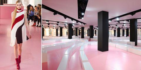 Dress, Ceiling, Fashion, Bag, High heels, Column, Luggage and bags, Street fashion, Fashion model, Design,