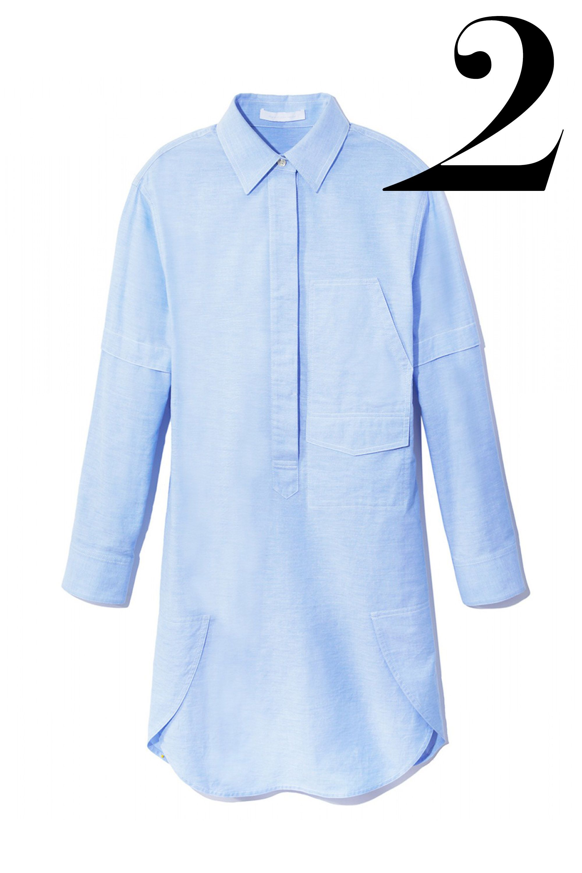 "<em>Alexander Wang shirtdress, $475, <a target=""_blank"" href=""http://shop.harpersbazaar.com/designers/alexander-wang/blue-cotton-shirtdress/"">shopBAZAAR.com</a></em>"
