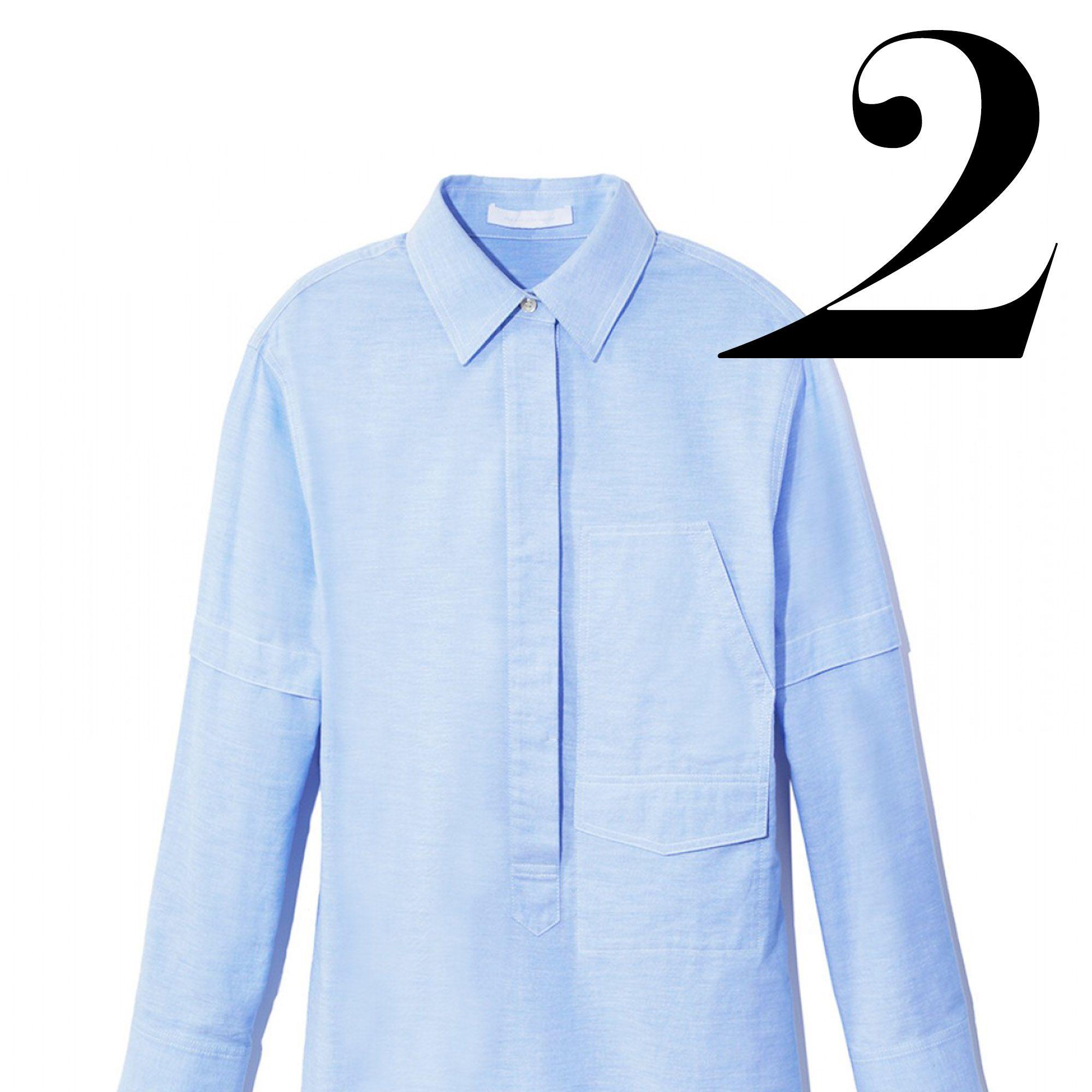 """<em>Alexander Wang shirtdress, $475, <a target=""""_blank"""" href=""""http://shop.harpersbazaar.com/designers/alexander-wang/blue-cotton-shirtdress/"""">shopBAZAAR.com</a></em>"""