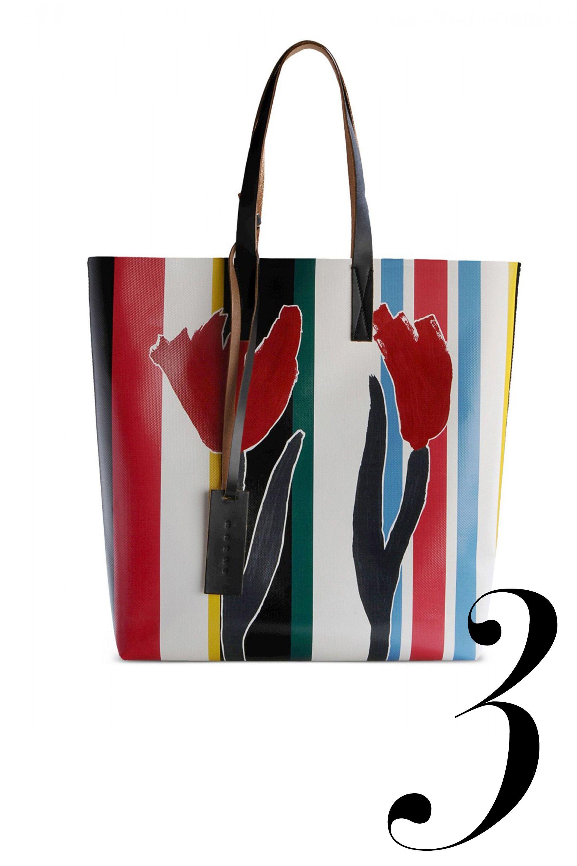 "<em>Marni tote, $358, <a target=""_blank"" href=""http://shop.harpersbazaar.com/designers/marni/printed-flower-tote/"">shopBAZAAR.com</a>.</em>"