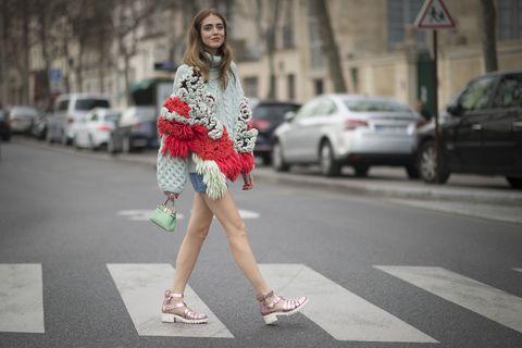 Clothing, Road, Street, Human leg, Land vehicle, Infrastructure, Style, Street fashion, Pedestrian, Fashion,