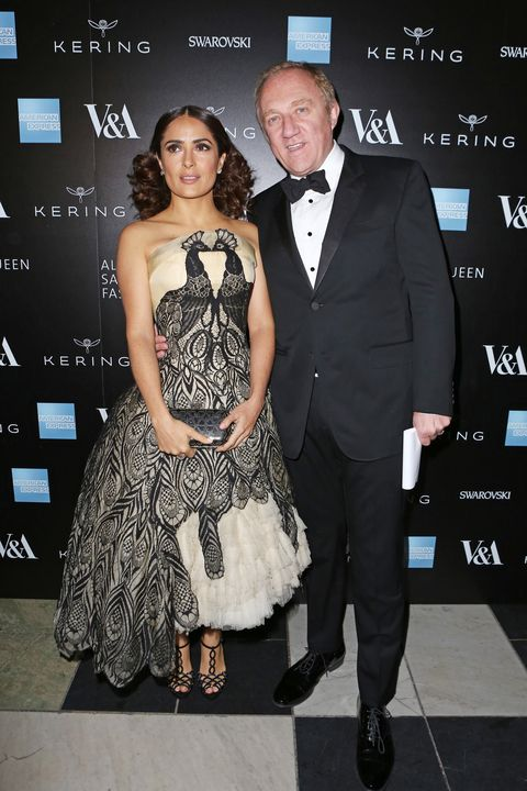 LONDON, ENGLAND - MARCH 12:  Salma Hayek (L) and Francois Henri Pinault arrive at the Alexander McQueen: Savage Beauty Fashion Gala at the V&A, presented by American Express and Kering on March 12, 2015 in London, England.  (Photo by David M. Benett/Getty Images for Victoria and Albert Museum)